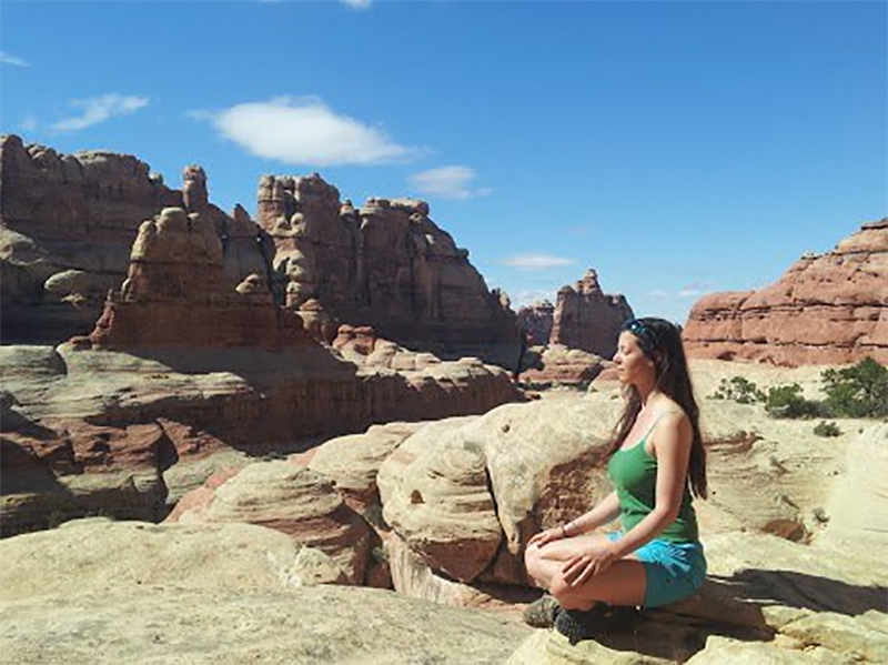 Bri meditating at Druid Arch